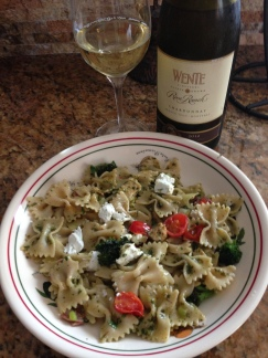 Wente with pasta