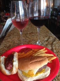 rose and dry red with burger and dog