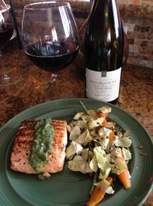 salmon and sauteed veggies