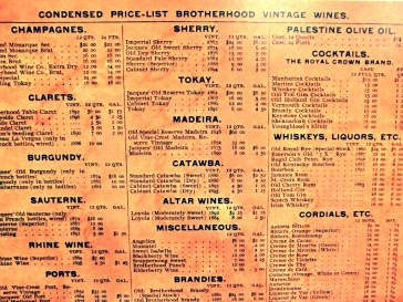 Brotherhood historic price list