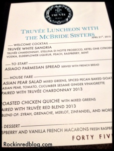 Truvee Wine Lunch menu
