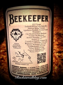 Zin Rising Beekeeper back label