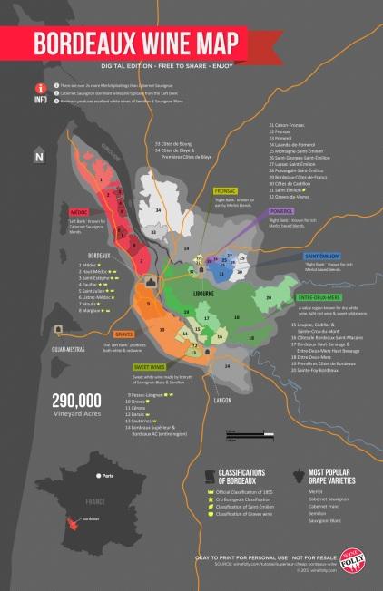 Bordeaux wine map via winefolly
