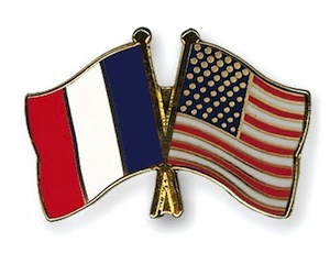 American and French flag pin
