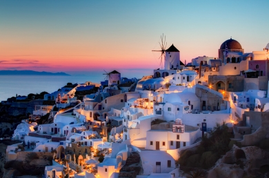 Sunset in Oia, Santorini.