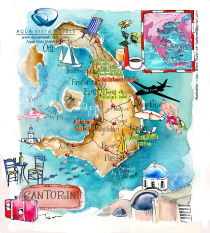 Greek Wines Santorini map via aquavistahotels