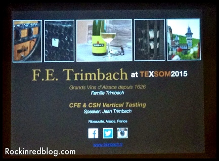 Trimbach tasting at TexSom