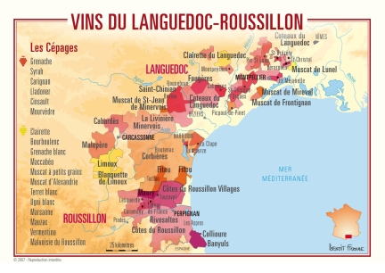Languedoc wine map via winefolly