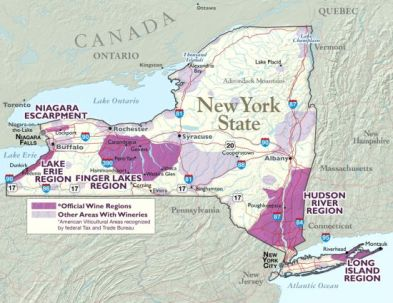 Finger Lakes Wine Region map via wineconsumer