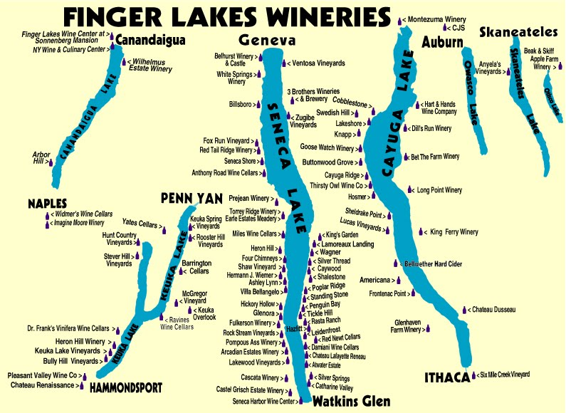 Finger Lakes Winery Map Finger Lakes wineries map via writingonthevine – ROCKIN RED BLOG Finger Lakes Winery Map