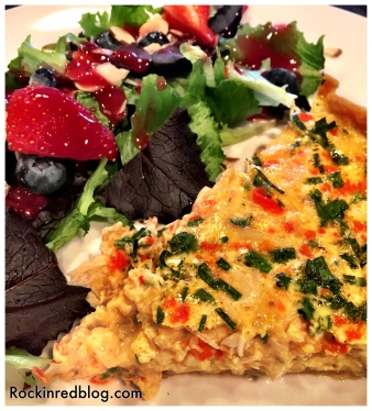 Crab quiche with fruit salad