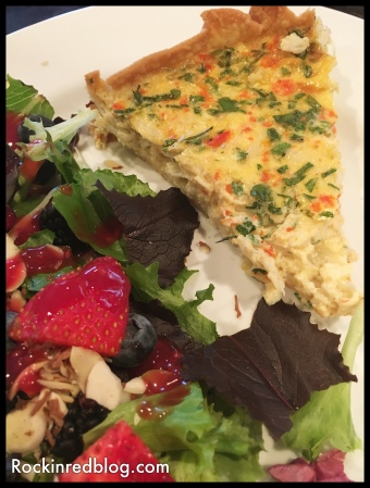 crab quiche with fruit salad2