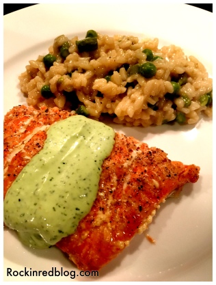 Landmark dinner salmon with risotto