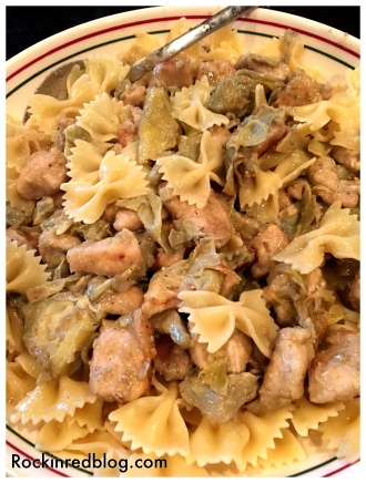 Chicken and Artichokes with pasta