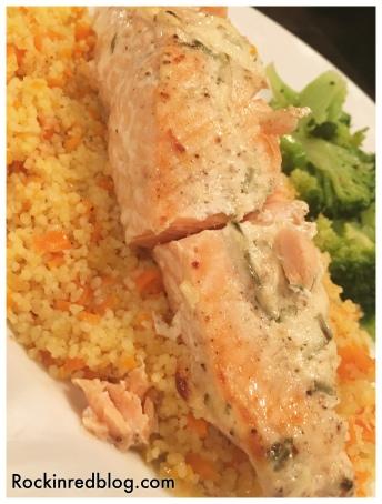roasted salmon couscous brocolli
