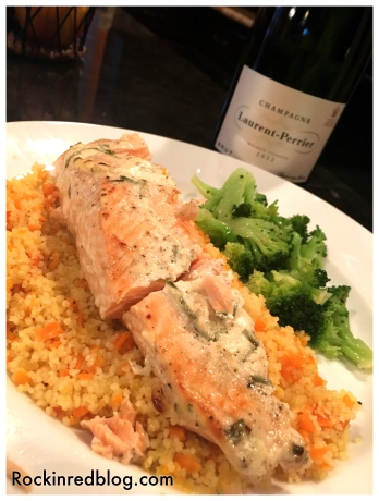 salmon with couscous and champagne