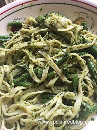 Linguine with Pesto Genovese and beans