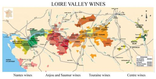 Loire Valley wine region map