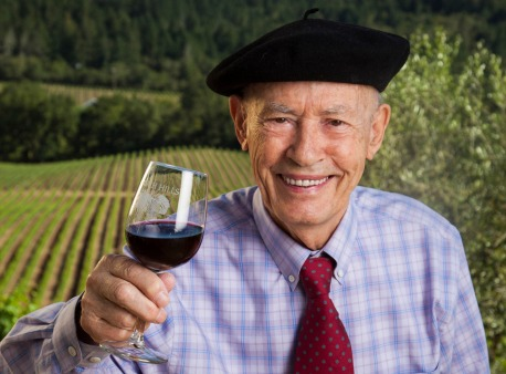 winemaker Mike Grgich, who is turning 90 on April 1. He's one of the best-known figures in Napa (his suitcase and beret are in the Smithsonian!) -- says Anne Schamberg. His CA winery is Grgich Hills Estate. handout photo for schacol07 ORG XMIT: MJS1303191648542787