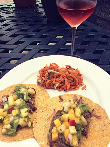 pulled pork tacos with trefethen 2014 rose