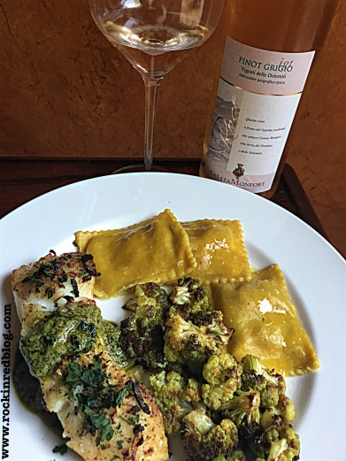 sea bass dinner with casata monfort pinot grigio