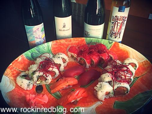 sushi with lodi wines