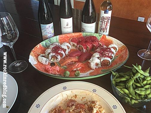 sushi with lodi wines2