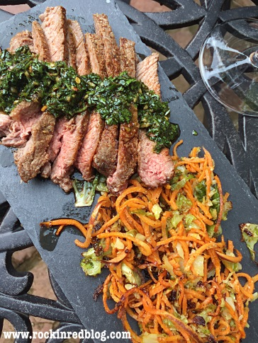 tri tip steak chimichurri sweet potatoe brussels sprouts Spartico