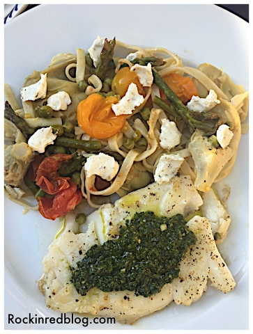 chilean sea bass with pasta primavera