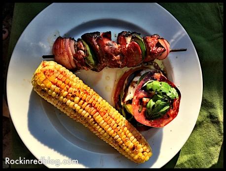 steak kabobs corn caprese salad Forlorn Hope