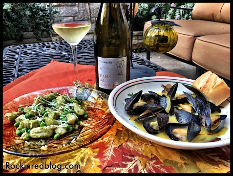 Dama del Rovere Soave mussels and gnocchi dinner