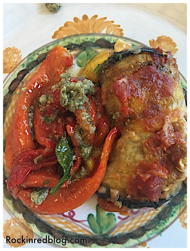 Egg plant and roasted fresh peppers