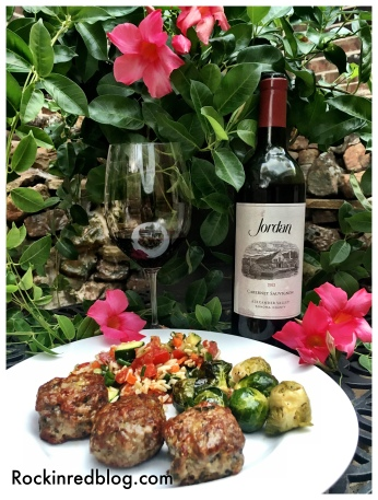 Jordan 2012 Cabernet Sauvignon paired with meatballs orzo veggie salad and roasted Brussels sprouts