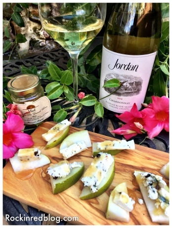 Jordan 2014 Chardonnay paired with juniper berry blue cheese, pears, and Bordeaux honey