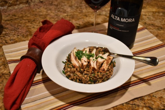 barley-risotto-with-chicken-and-alta-mora-wine