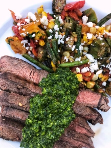 grilled steak with chimichurri and succotach dinner