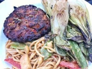Rias Baixas Albarino WinePW salmon burger grilled leeks peanut noodle dinner 2