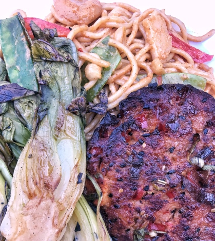 Rias Baixas Albarino WinePW salmon burger grilled leeks peanut noodle dinner