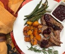 lamb chops with blackberry pan sauce dinner 3