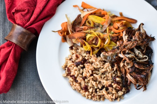 Languedoc Winophiles balsamic pulled pork farro and carrots dinner 2 (1 of 1)