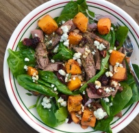 steak salad with butternut squash and dried cranberries 2