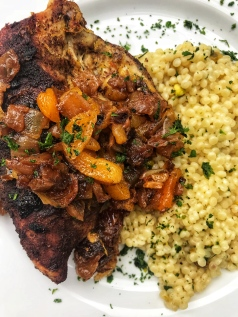 Tagine Chicken with dates and apricots and pistachio couscous