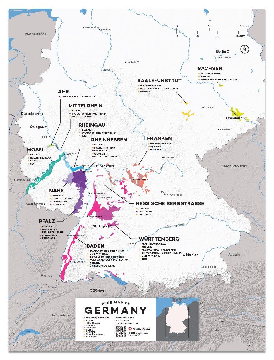 Regions Of Germany Map.German Wine Regions Map Via Winefolly Rockin Red Blog