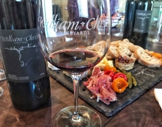 Tasting wine at William Chris Vineyards